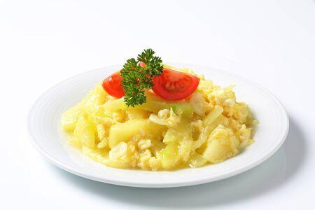 scrambled: Scrambled eggs with zucchini and garlic