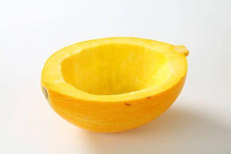scraped: Pumpkin half scraped clean of seeds