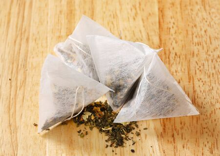biodegradable: dried tea in pyramid biodegradable bags
