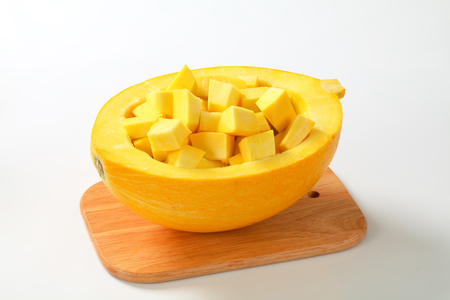 pulp: pumpkin half filled with diced pulp