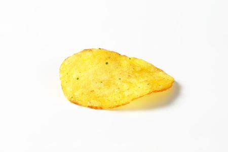 potato chip: Single potato chip on white background