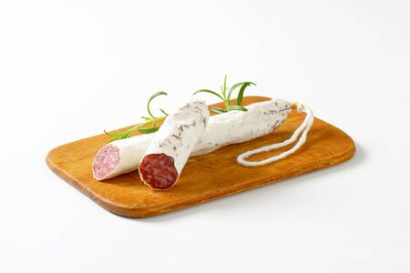dry sausage: Fuet - Catalan dry cured sausage of pork meat Stock Photo