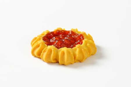 teacake: Flower-shaped cookie with jam center Stock Photo