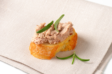 crunchy: Slice of crunchy baguette with chicken liver pate