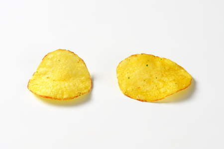 Studio shot of crunchy crisps Stock Photo
