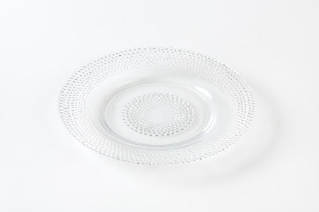 beaded: Glass dessert plate with beaded rim