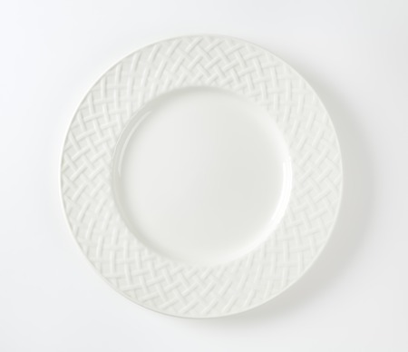overhead: White porcelain plate with lattice pattern on the rim