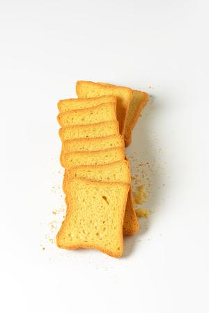 white bread: Twice baked sliced white bread