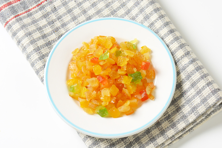 plate of candied fruit on checkered dishtowel