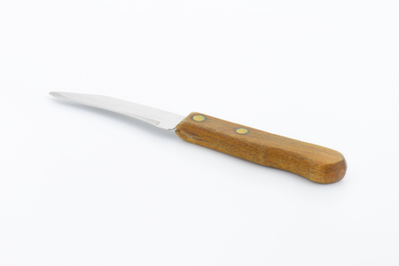 paring knife: Small peeling knife with wooden handle