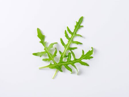 rucola: fresh rucola leaves on white background