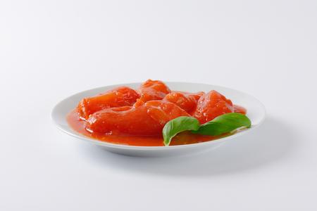 plate of peeled plum tomatoes