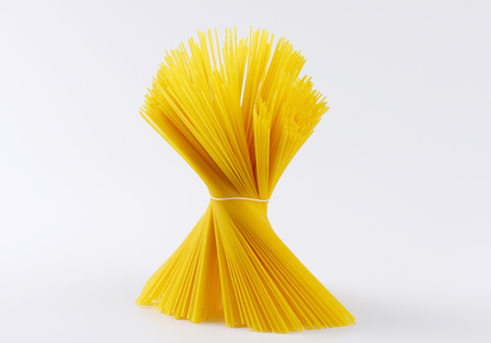 uncooked: uncooked spaghetti tied in bundle