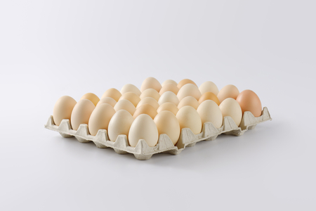 thirty: packaging of thirty fresh eggs Stock Photo
