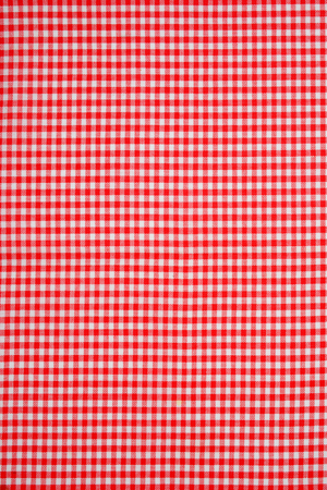 detail of red and white checked tea towel