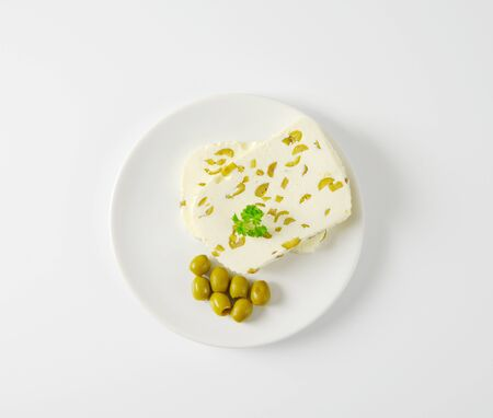 green olives: farmers cheese with green olives