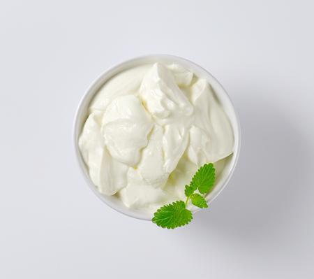 yogurt: Bowl of thick Greek yogurt