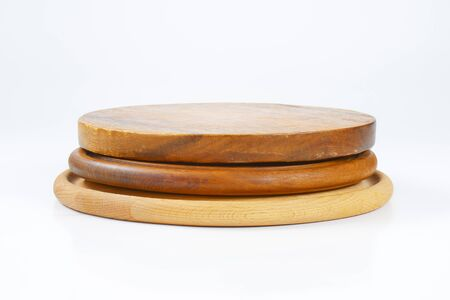 wooden boards: stack of three round wooden cutting boards