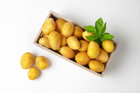 원시 껍질을 벗기지 않은 감자의 상자