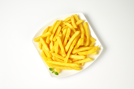 portion: portion of French fries on square plate