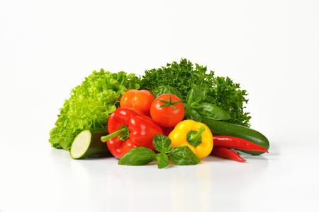 assortment: assortment of fresh vegetables on white background