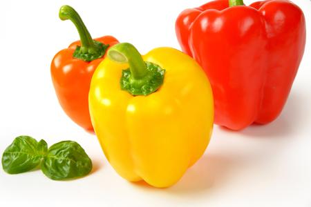 varieties: closeup of three ripe bell pepper varieties Stock Photo