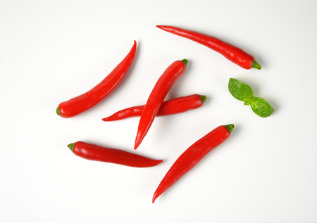 chili peppers: red chili peppers and basil leaves