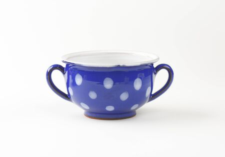 handled: Double handled polka dot blue soup bowl