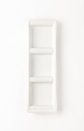 serving dish: Rectangular divided serving dish with three compartments