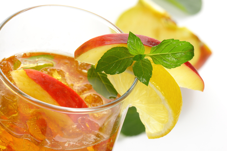 glass of fresh apple juice with ice