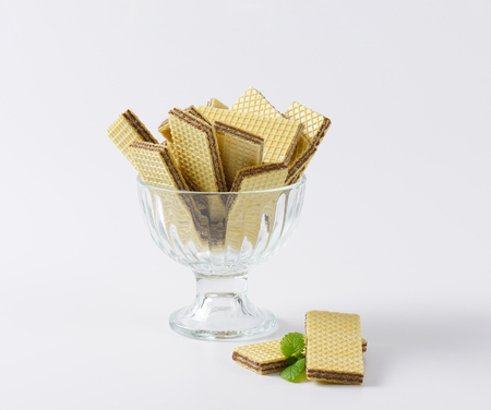 wafers: chocolate wafers in glass rummer Stock Photo