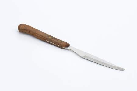 table knife: table knife with wooden handle Stock Photo