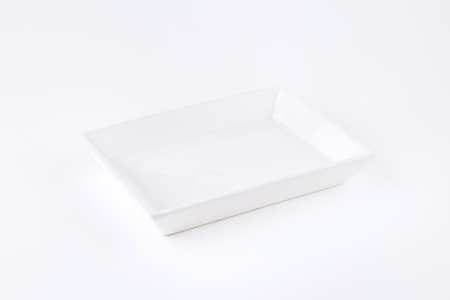 rectangular: white rectangular dish on white background