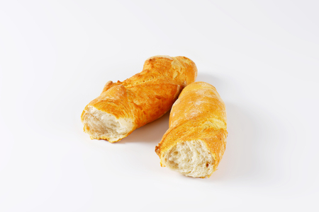 crusty french bread: halved loaf of French bread