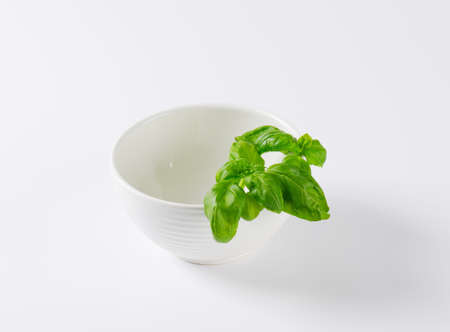 sprig: sprig of fresh basil in white bowl