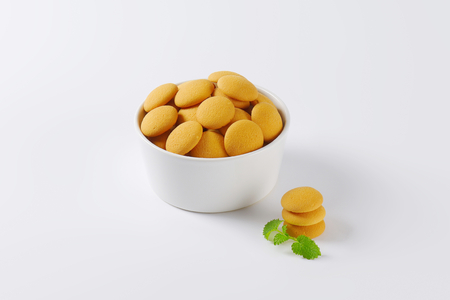 biscuits: bowl of round sponge biscuits