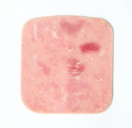 jamon: Fina loncha de jamón en el fondo blanco
