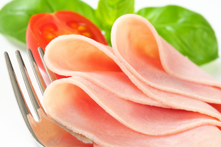 thinly: Studio shot of thinly sliced ham