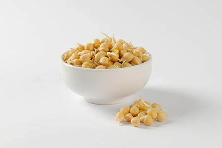 garbanzo bean: Bowl of sprouted chick peas Stock Photo