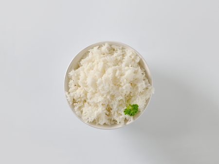 Bowl of cooked jasmine rice