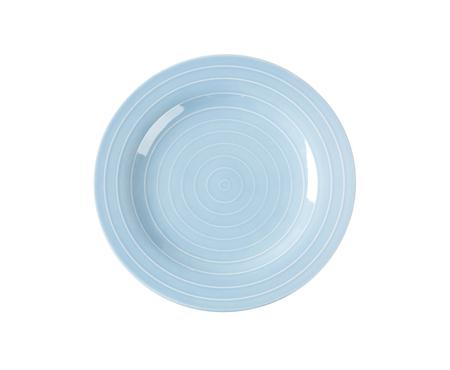 circulos concentricos: Plato azul con c�rculos conc�ntricos blancos Foto de archivo