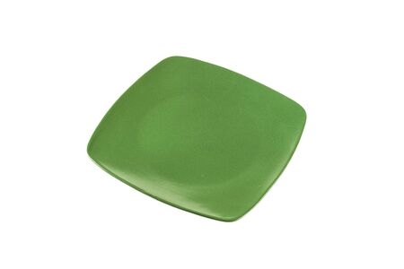 rimless: Daily use square green dinner plate