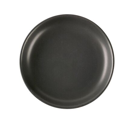 rimless: coupe shaped black dinner plate Stock Photo
