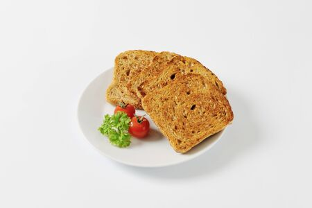 toasted: toasted slices of whole grain bread Stock Photo