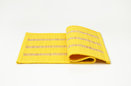 place mat: Yellow bamboo place mat with stripes