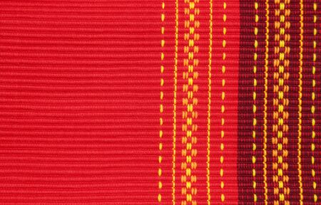 placemat: Red cotton ribbed placemat with decorative pattern