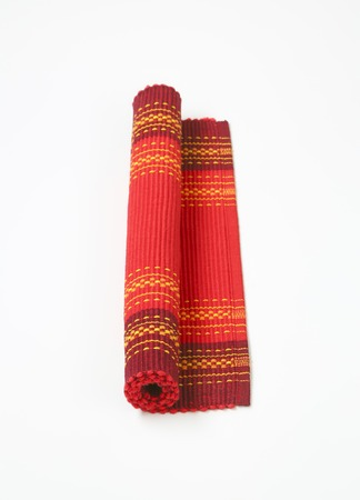 ribbed: Red cotton ribbed placemat with decorative pattern