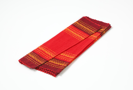 placemat: Decorative red cotton ribbed placemat Stock Photo