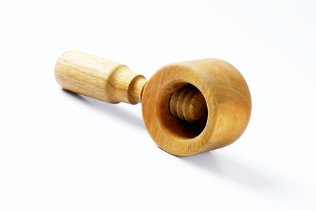 nut cracker: wooden nutcracker on white background Stock Photo