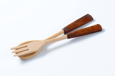 serving utensil: wooden fork and spoon (salad servers)